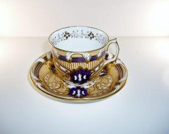 English Cup Saucer Fancy Gold Blue, Antique c.1860