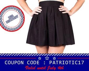 Black skater skirt, womens skater skirt, high waisted skirt, midi skirt, gothic skirt, gothic clothing, skater skirt, pin up skirt