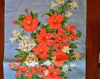 """Vintage Linen Wall Hanging, """"Bermuda Floral Bouquet"""", ULSTER Made in Ireland"""