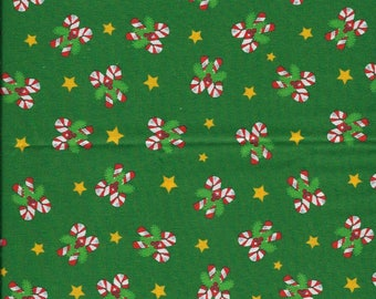 "New Christmas Candy Cane and Star Toss on Dark Green 100% Cotton Fabric 36"" x 42"" Piece"