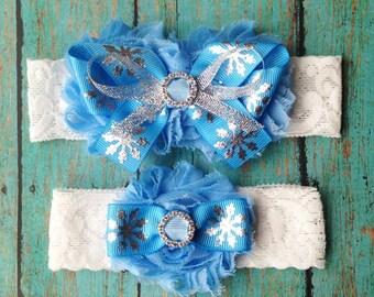 Winter Wedding Garter | Blue and Silver Snowflake Garter Set | Bridal Garter and Toss Garter