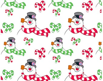 Everyone's Favorite Snowman Frosty the Snowman Toss In White By Quilting Treasures Fabric Sold in One Continuous Cut