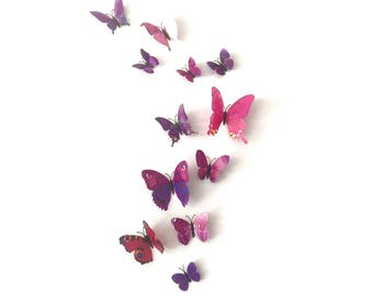 12 butterflies, 3D, purple