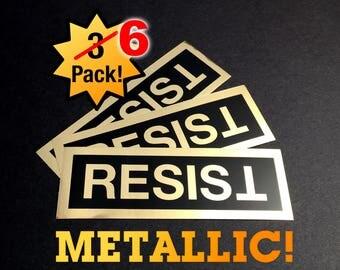 Resist Anti-Trump Shiny Gold Sticker Laptop/Phone - 6-pack! FREE SHIP + bonus - Anti-Hate Anti-Far-Right - Falsum - Progressive Left