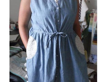 Example of customization denim dress for a country wedding, to order with the dress of your choice