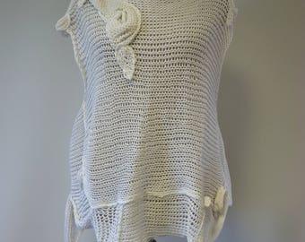 Summer transparent white linen blouse, L size.