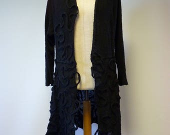 Sale. Fashion black boucle cardigan with amazing felted decoration, L size. Only one sample.