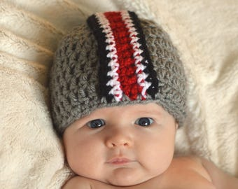 Ohio State Baby Hat - Ohio State Helmet Hat Beanie- Ohio State Baby Boy Hat- Buckeyes Baby Hat- OSU baby hat with buckeye decals- OSU beanie