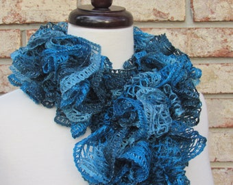 Blue and black ruffle scarf