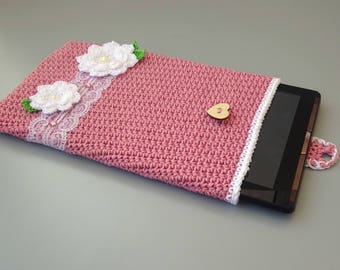 """Sleeve for tablet Acer Iconia (10""""), soft tablet case with flower application and lace"""