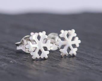 Sterling Silver Snowflake Earrings|Snowflake Earrings|Sterling Silver Earrings|Silver Snowflake Studs|Winter Earrings|Christmas Earrings