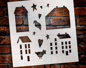 Primitive Houses - Art Stencil- Select Size - STCL1204 - by StudioR12