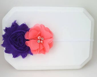 Purple and Coral Flower Girl Headband,Coral Baby Headband,Purple Baby Headband,Purple Cake Smash,Newborn Headband,Purple Hairbow, Coral Bow