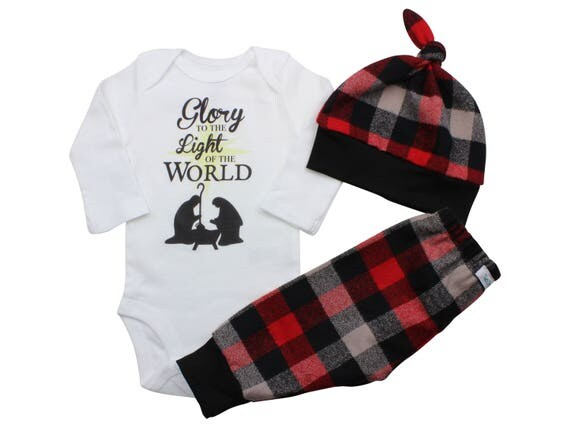 Glory to the Light of the World Bodysuit Buffalo Plaid Pants Winter Baby Outfit Boy Red Black Buffalo Plaid Jesus is the Reason Faith Outfit