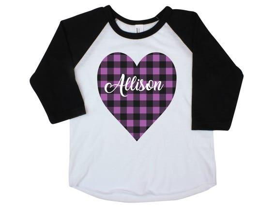 Girl Buffalo Plaid Heart Shirt Valentine's Purple Plaid Heart Personalized Onesie Black Raglan Girl Shirt Valentine's Day Black Raglan Name