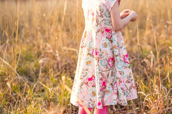 Easter Dress Spring Dress Twirly Easter Dress Toddler Dress Girl Dress Summer Dress Pink and White Dress Short Sleeve Twirly Knit Dress