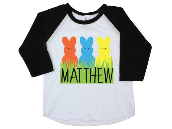 Boy Peeps Easter Shirt Bunny Raglan Personalized Baby Easter Onesie Easter Bunny Peeps Personalized Monogram Name Shirt