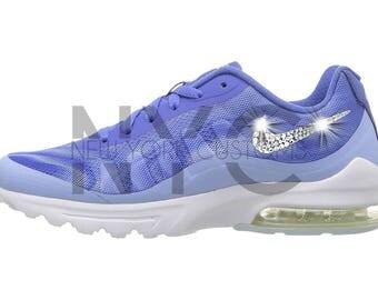 Nike Air Max Invigor Comet Blue Blinged Out Swarovski Crystal Custom Women