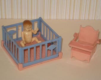 Vintage IDEAL Plastic Dollhouse Baby Doll, Crib and Potty Chair Furniture