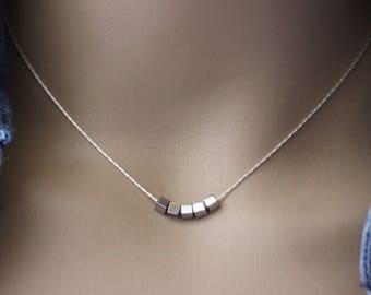 Sterling silver necklace cub in silver hematite 3mm - silver necklace - minimalist necklace - cube necklace - silver choker
