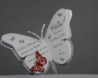 Butterfly birth announcement while sparkle