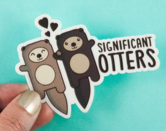 """Otters Vinyl Sticker """"Significant Otters"""" - otters holding hands, cute vinyl decal, gift for boyfriend girlfriend husband or wife, sea life"""