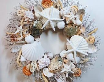 "21"" Sea Shell Wreath on Birch Twig with Rare Blue Abalone Shells, Star Fish, & Sea Urchins"