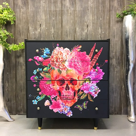 Vintage chest of drawers Skulls decoupage
