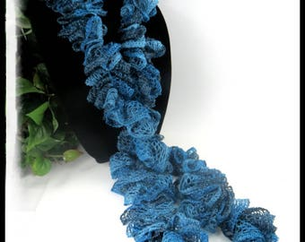 Teal sparkling ruffled scarf, shade of teal scarves, crochet scarves, ruffled scarves, handmade scarves