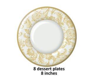 gold scrolls dessert plates, elegant wedding decorations, formal paper tableware, gold and white, cake plates, reception, bridal shower