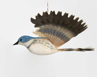 Hand Carved Cerulean Warbler Wooden Fan Bird, Woodland Mobile Wood Carving, Handmade Song Bird Hanging Décor, Birthday Gift,  Bird Ornament