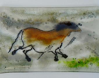 Fused glass platter with Lascaux horse cave art motif