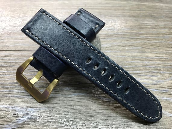Handmade vintage Dark Blue leather watch band, real leather watch strap, watch strap for Panerai, 24mm, 26mm, Gray stitching