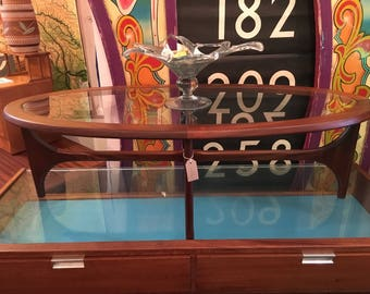 1960s Stonehill Stateroom Coffee Table. Teak & Glass. Vintage/Retro/Mid Century.