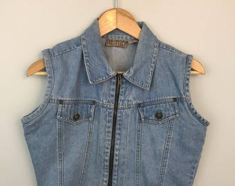 Vintage Denim Crop Vest