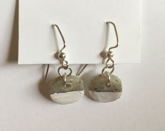 Hand-painted White & Granite Circle Earrings