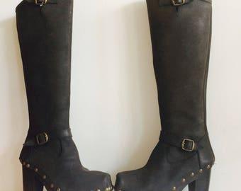SALE- Vintage leather boots| plateauzolen | size 6| maat 39 | plateaus | 90s| studs | leren laarzen|steampunk | punk