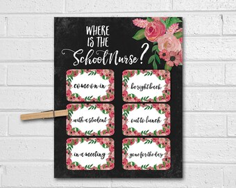FULLY CUSTOMIZED!! Office Door Sign, Where Is The Counselor Door Sign, Therapist Gift, Floral Watercolor Print, School Nurse Printable