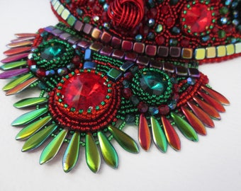 statement necklace, bohemian necklace, red necklace, crystal necklace, tribal necklace, unique gift