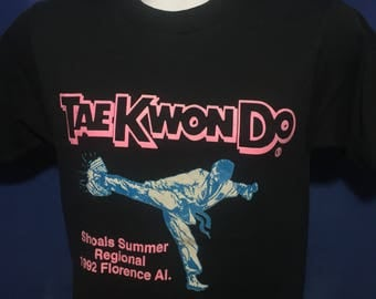 Vintage 1992 Taekwondo Shoals summer regional tournament t shirt Florence Alabama *XS
