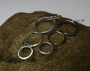 Good Karma-Long Dangle Circle Earrings: Sterling and Bronze