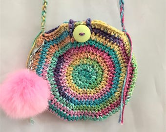 crochet circle handbag with pink pom pom, little girl over the shoulder round purse, gift to her for Easter / birthday, button closure