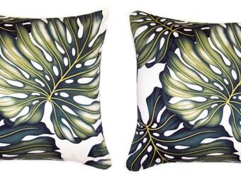 Pair of Tropical Cushion Covers - Monstera Leaf,  Palm Tree Natural Island Fabric Polynesian Hawaiian Pillow Sham Coussin Euro