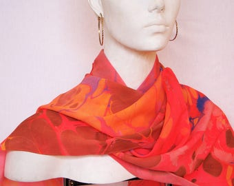 """Women's coral red silk crepe  scarf, hand marbled, 14"""" x 56"""" medium size"""