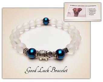 Elephant Bracelet. Good Luck Bracelet. Hematite Bracelet. Crystal Quartz. Yoga Mala Bracelet. Protection Bracelet. Healing Bracelet. #M119