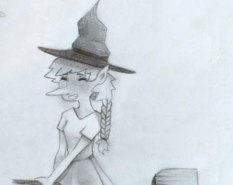 Whimsical witch on a broom original Art pencil card greeting cards note cards