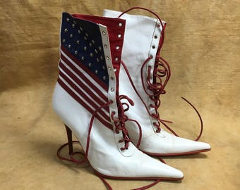 Leather American Flag Heeled Boots Women's US Stars Stripes Patriotic Stilettos