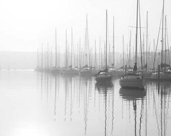 Harbor Print, Black and White Harbor Photography, Ocean Print, Black and White Ocean Wall Art, Ocean Photography