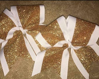Double Layer Bow: Solid outline with glitter center