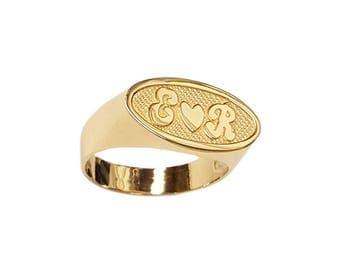 Lee174-14K 9mm 14K Gold Oval Name Ring